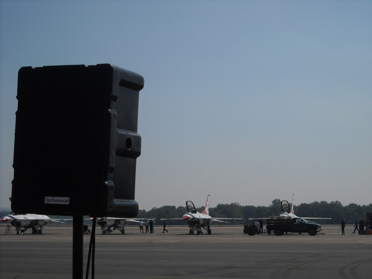 One of five loudspeakers points from a Technomad Modular Military PA system positioned along the flight line at the Great New England Air Show